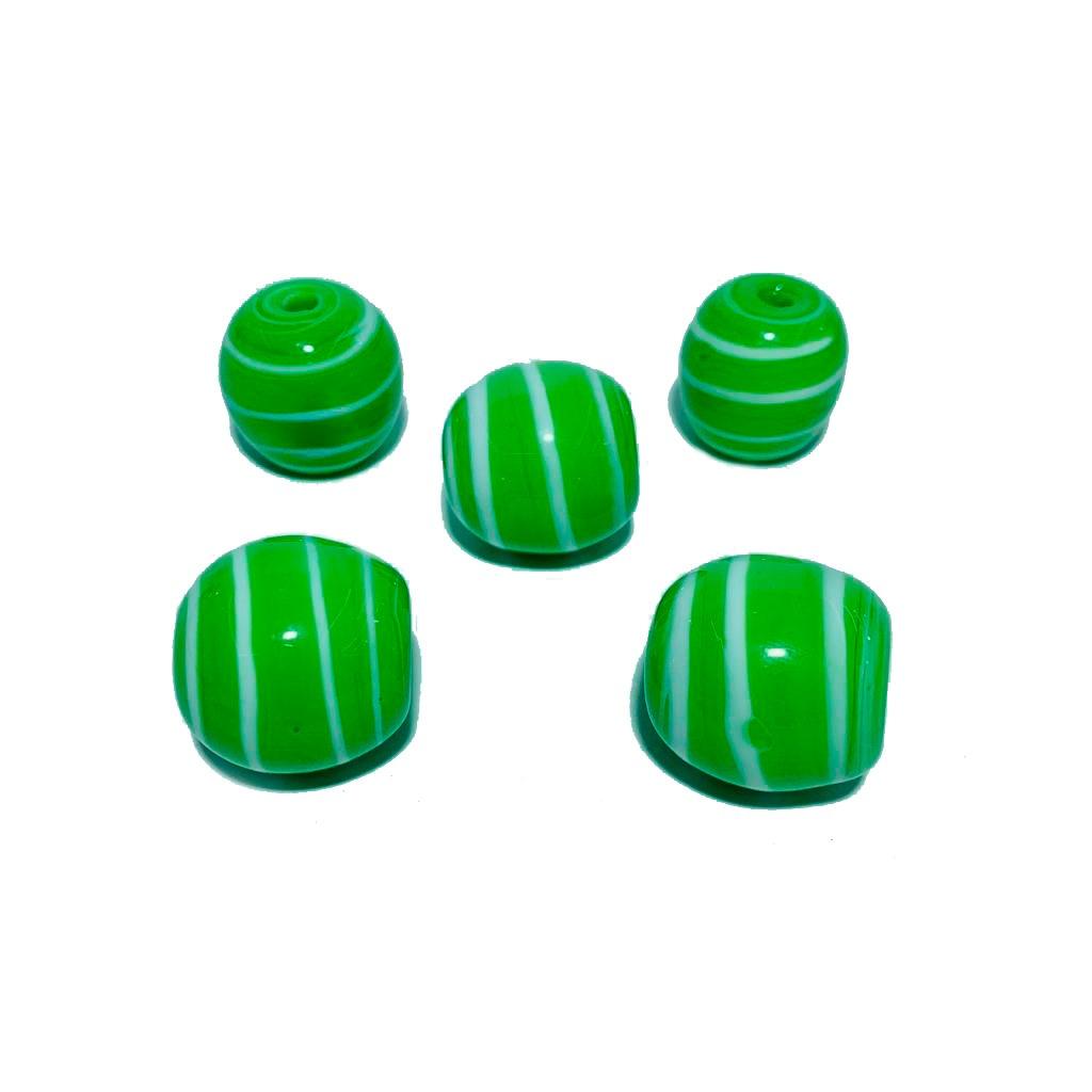 Bola de Murano GG Verde Pistache com Branco