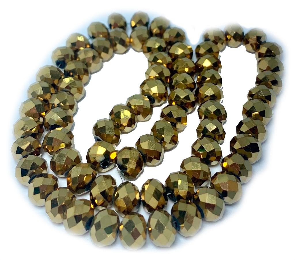Cristal Chinês Dourado Metalizado 8 MM