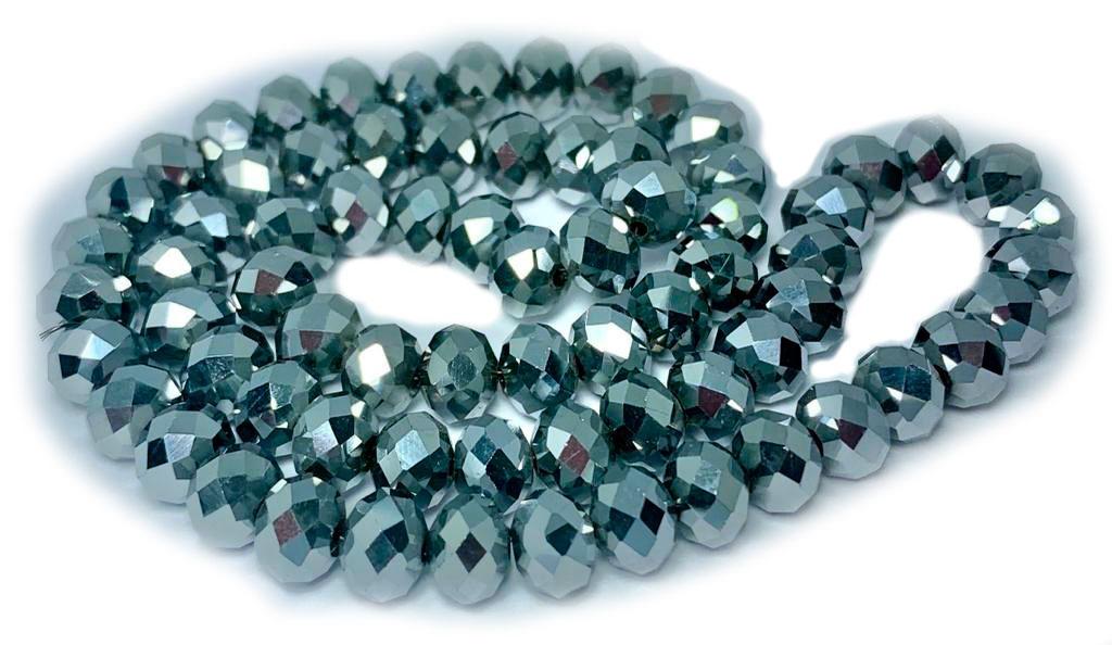 Cristal Chinês Prata Metalizado 8 MM