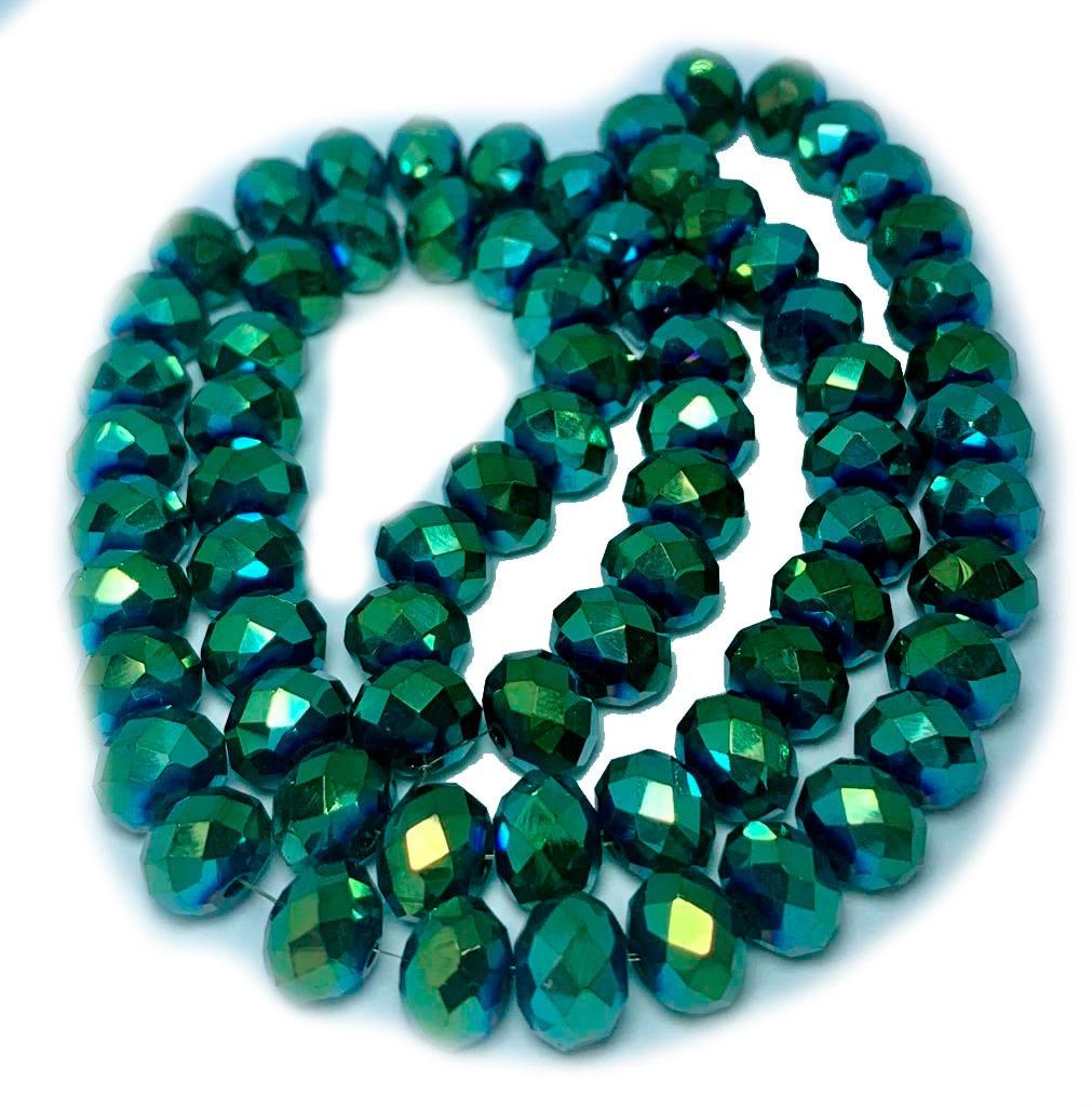 Cristal Chinês Verde Vitral Metalizado 8 MM