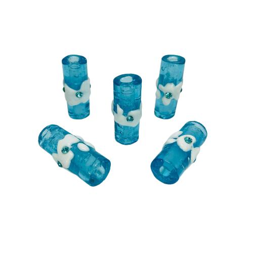 Firma de Murano GG Azul Transparente com Miolo Branco e Strass Azul