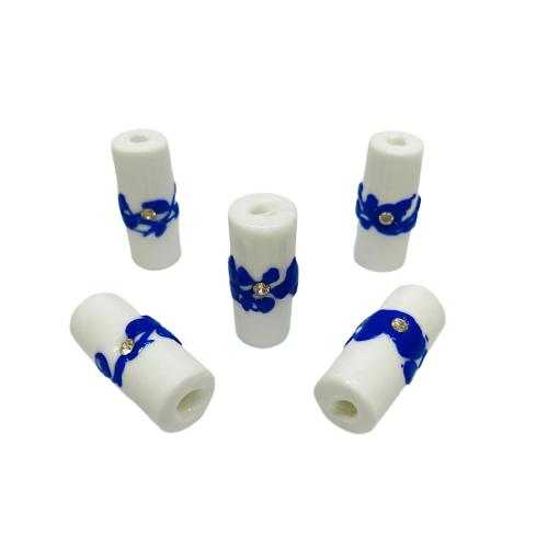 Firma de Murano GG Branco com Miolo Azul e Strass Prata