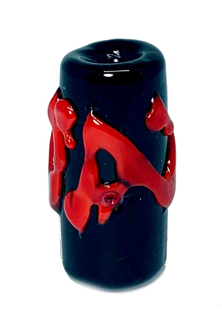 Firma de Murano GG Preto Puro com Miolo Vermelho e Strass Vermelho