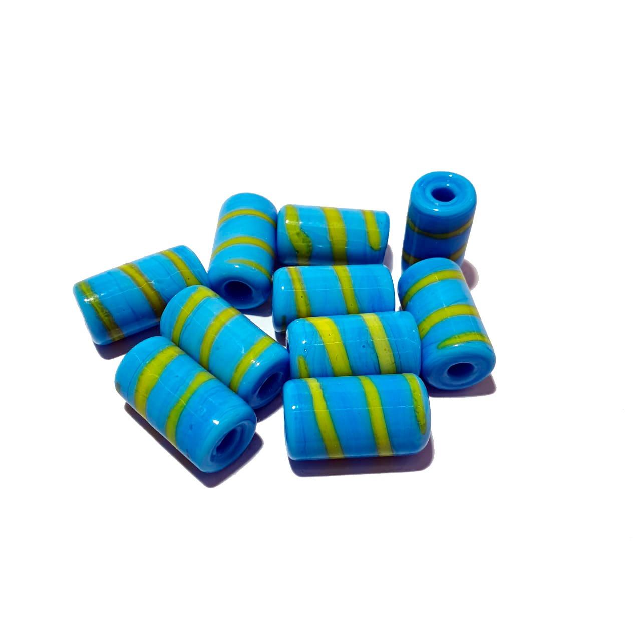 Firma de Murano M  Azul Turquesa com Amarelo