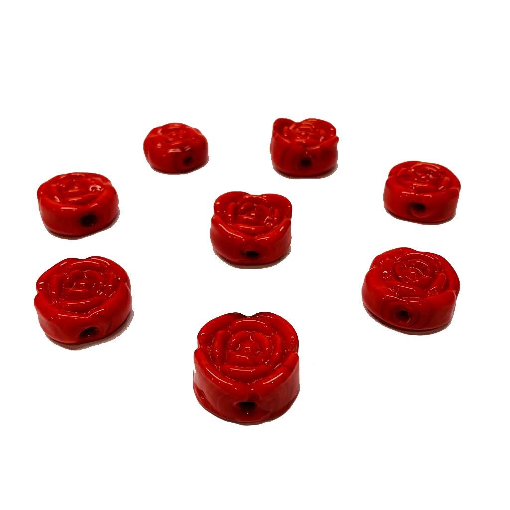 Flor de Murano em Alto Relevo Vermelho Leitoso