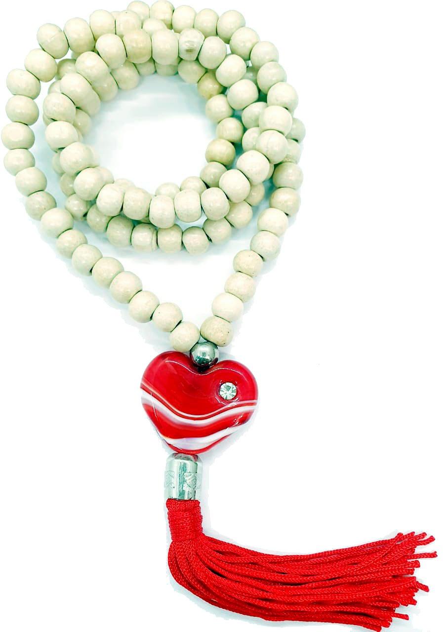 Japamala de Madeira com Coração e Tassel Vermelho