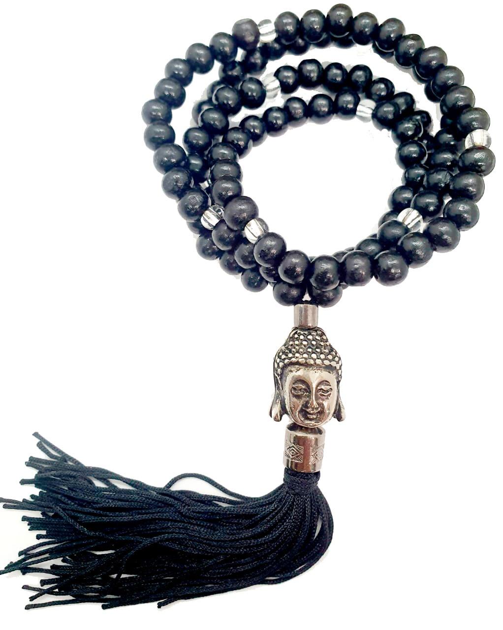 Japamala Madeira Preta com Meru de Buda metálico