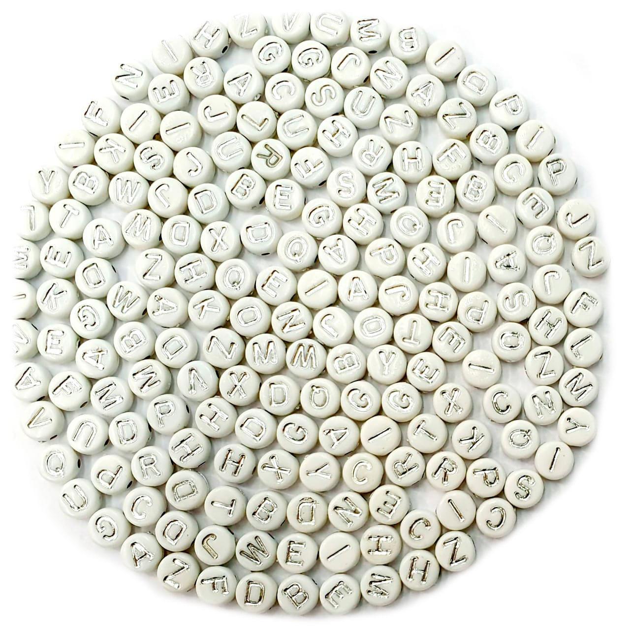 Letrinhas Achatadas Branca com Prata