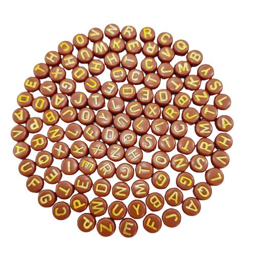 Letrinhas Achatadas Caramelo Escuro com Dourado
