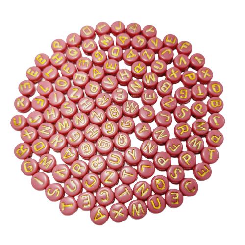 Letrinhas Achatadas Rosa com Dourado