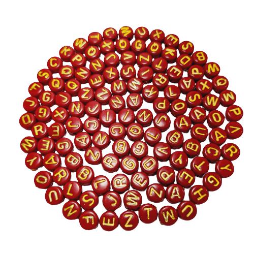 Letrinhas Achatadas Vermelho com Dourado