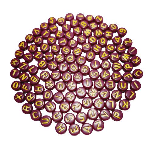 Letrinhas Achatadas Vinho com Dourado