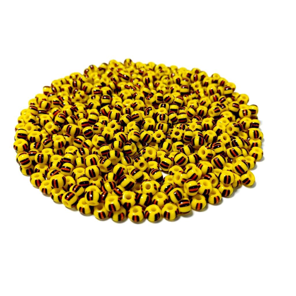Missanga Jablonex  5/0 Amarela Rajada com Preto e Vermelho 83950