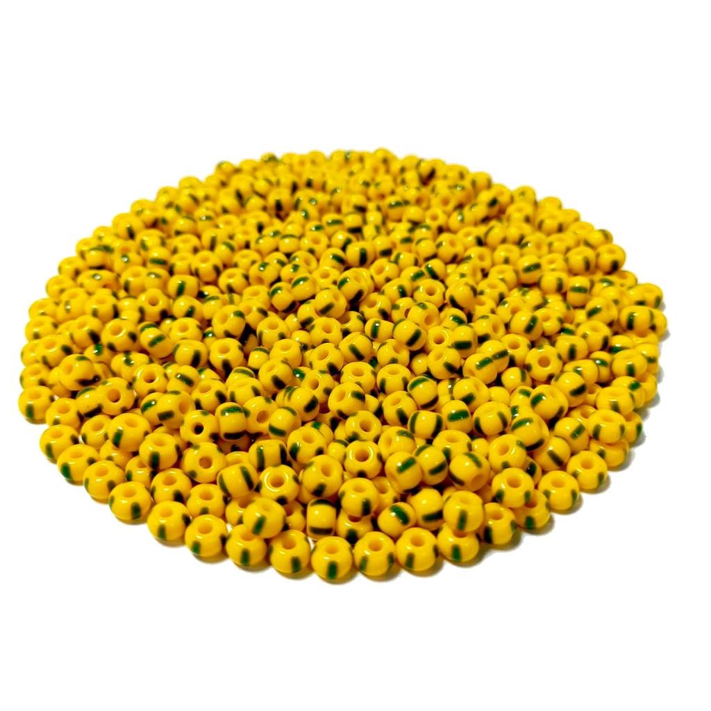 Missanga Jablonex  5/0 Amarela Rajada com Verde 83520
