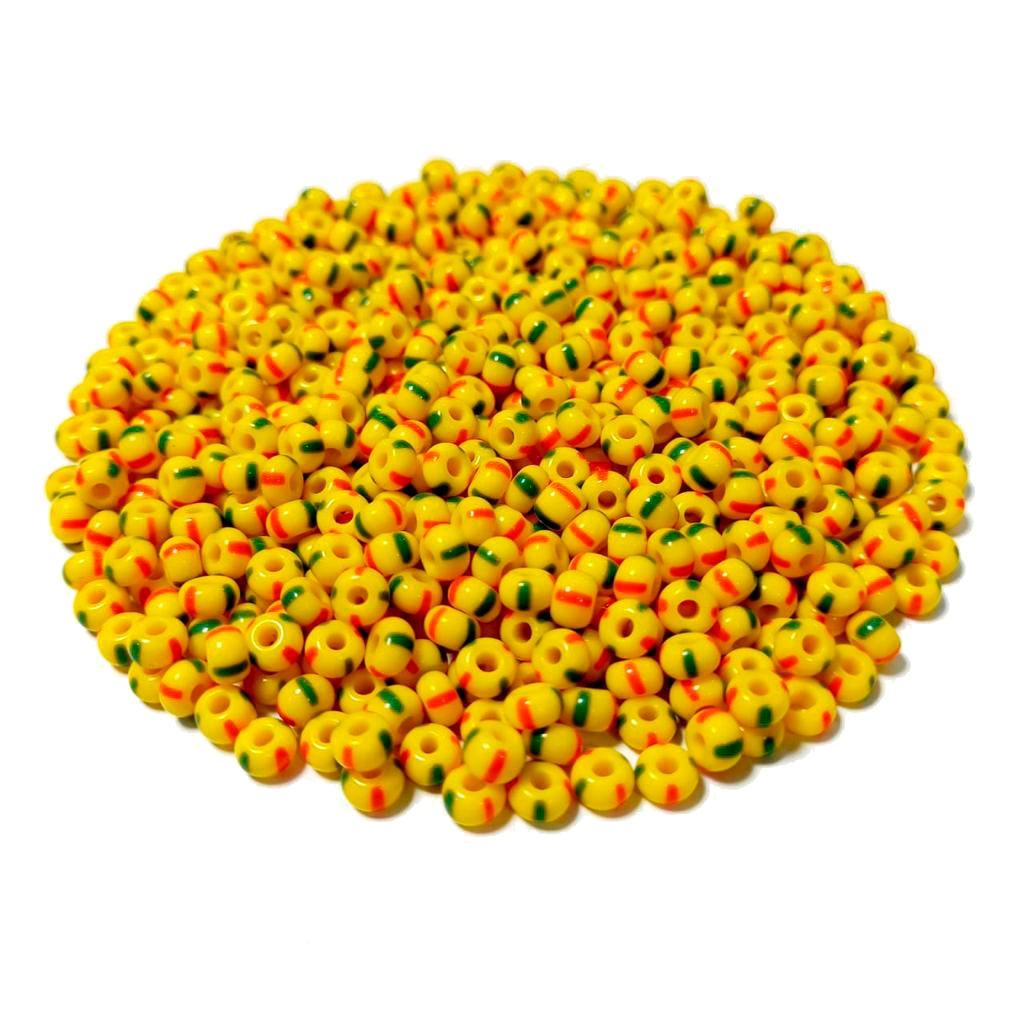 Missanga Jablonex  5/0 Amarela Rajada com Verde e Vermelho 83590