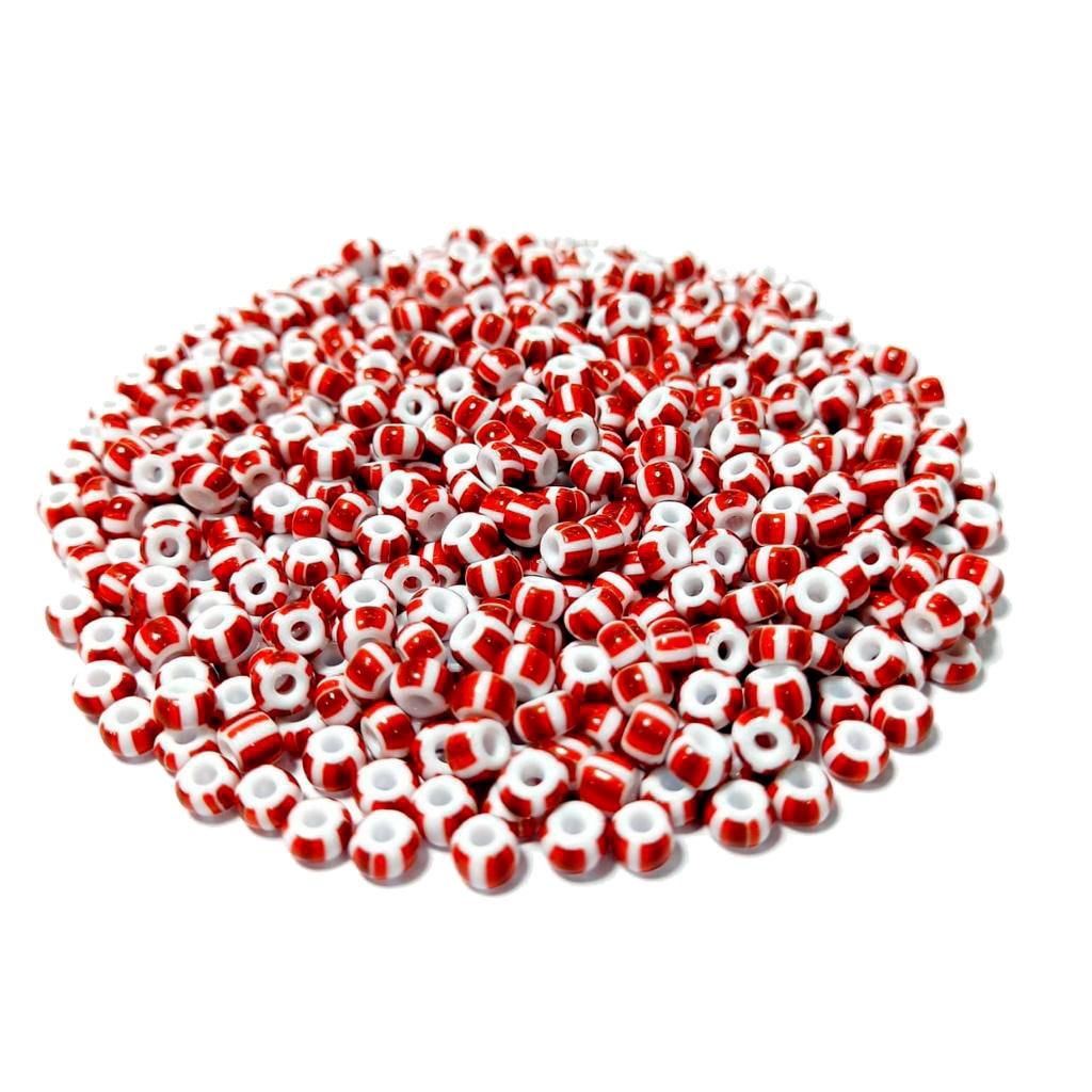Missanga Jablonex  5/0 Branco Rajada com Vermelho 03890
