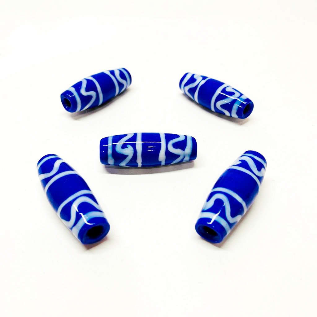 Murano Azeitona GG Azul Bic com Rajado Branco