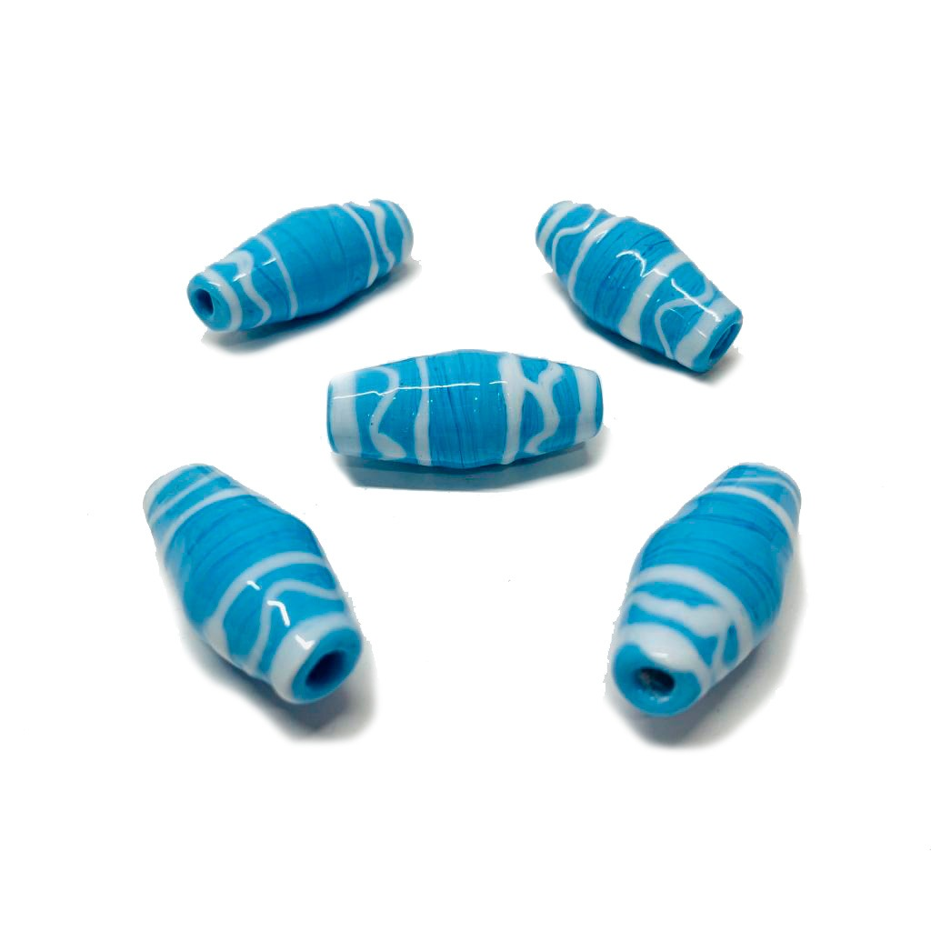 Murano Azeitona GG Azul Turquesa com Rajado Branco