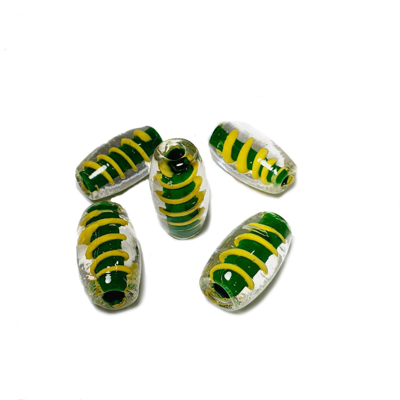 Murano Venturine Cristal com Miolo Verde e Amarelo