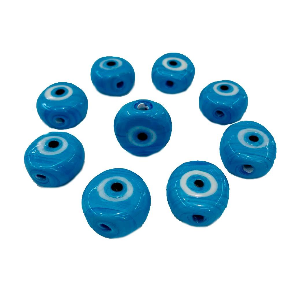 Olho Grego de Murano Achatado Médio Azul Turquesa Leitoso