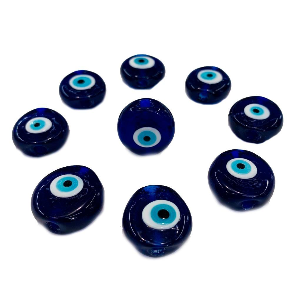 Olho Grego de Murano Achatado Médio Azulão