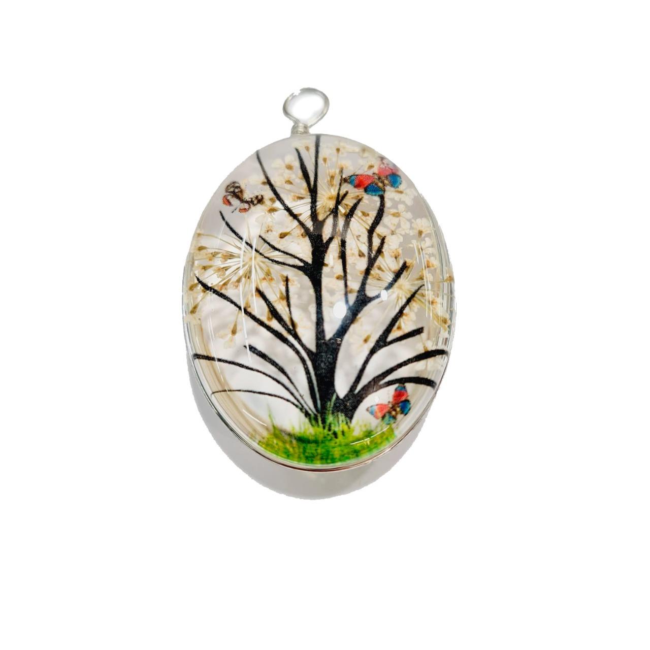 Orgonite de Árvore Oval Branco Grande