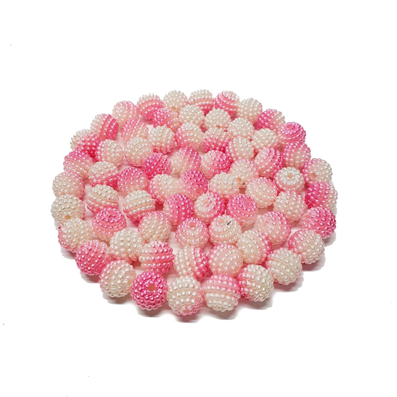 Pérola Craquelada Multicor Rosa e Branco