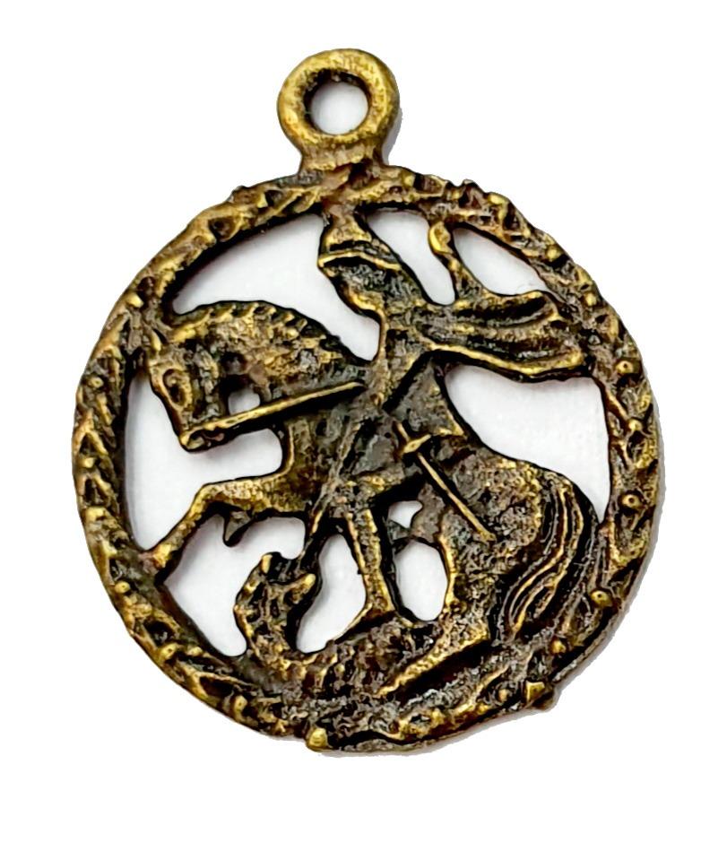 Pingente de São Jorge Pequeno Ouro Velho