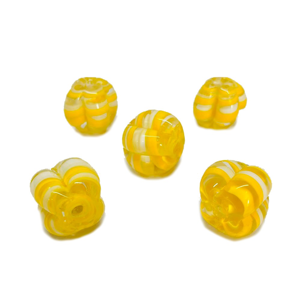 Pitanga de Murano GG Tranparente com Amarelo e Branco