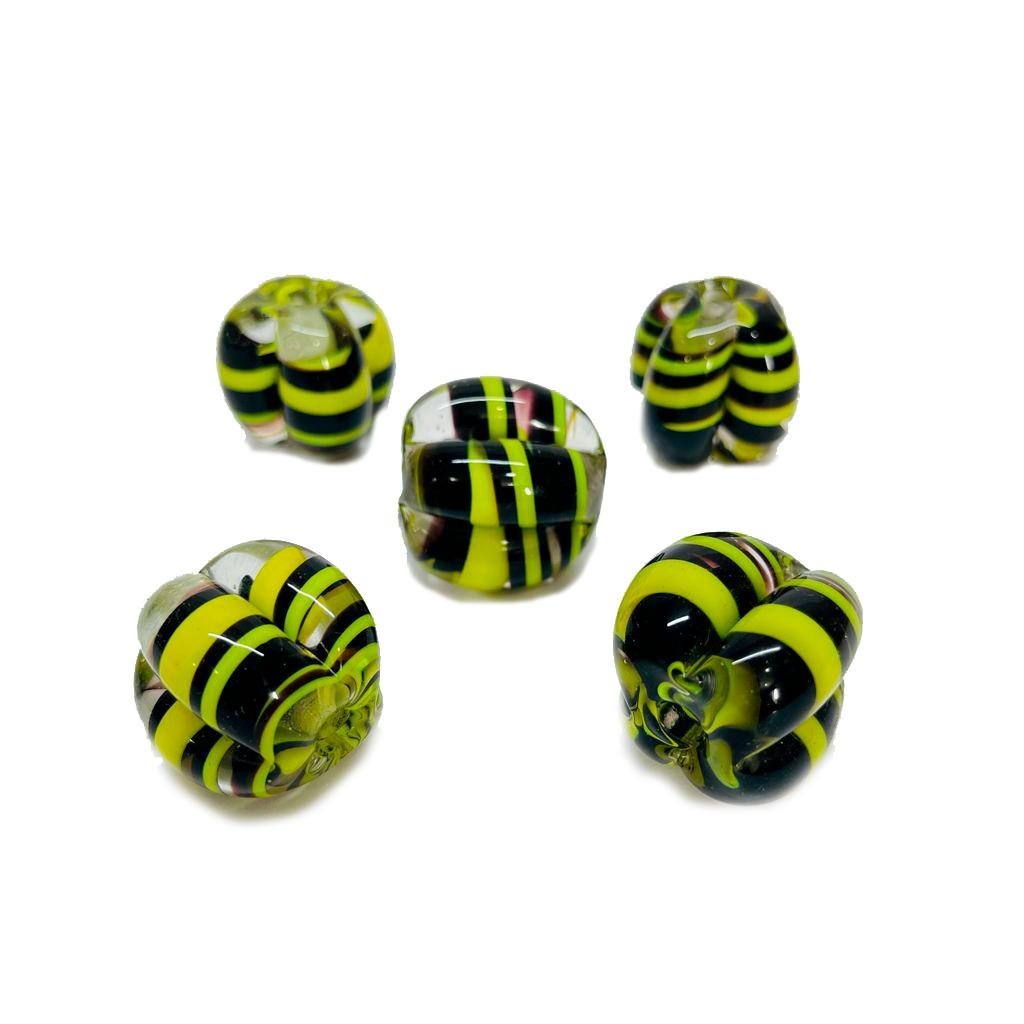 Pitanga de Murano GG Tranparente com Amarelo e Preto