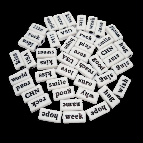 Plaquinhas Divertidas Branca com Palavras em Inglês Pretas