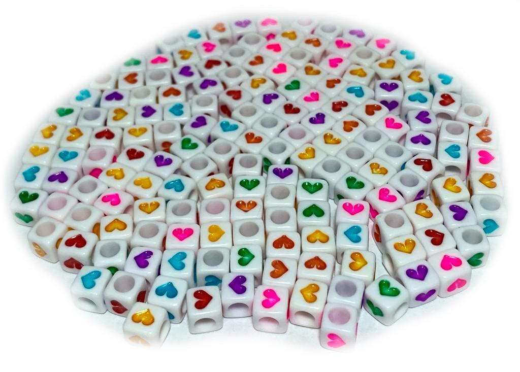 Quadradinhos com Corações Coloridos