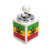 Cinzeiro de Cerâmica com Tampa Giratória Quadrado - Cannabis
