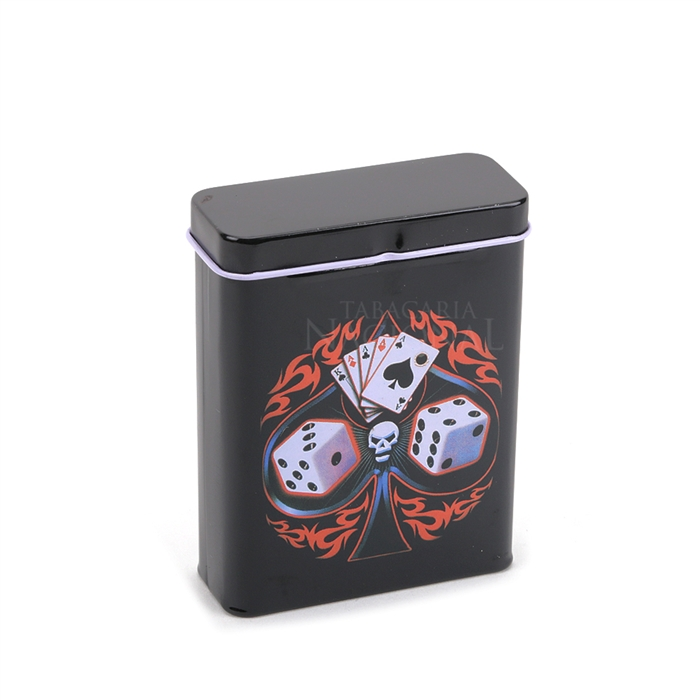 Cigarreira de Metal (Tin Case) - Cartas e Dados