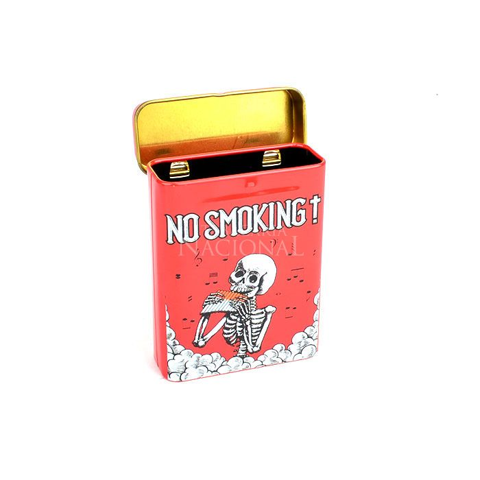 Cigarreira de Metal (Tin Case) - Caveira No Smoking