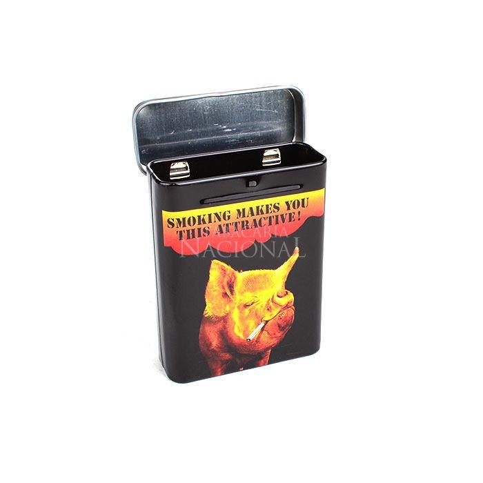 Cigarreira de Metal (Tin Case) - Smoking Pig