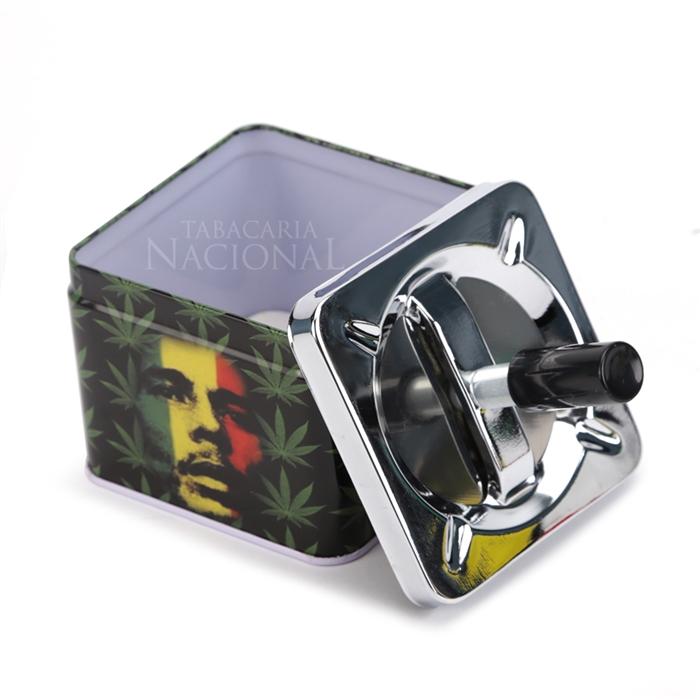 Cinzeiro de Alumínio com Tampa Giratória Quadrado - Bob Marley