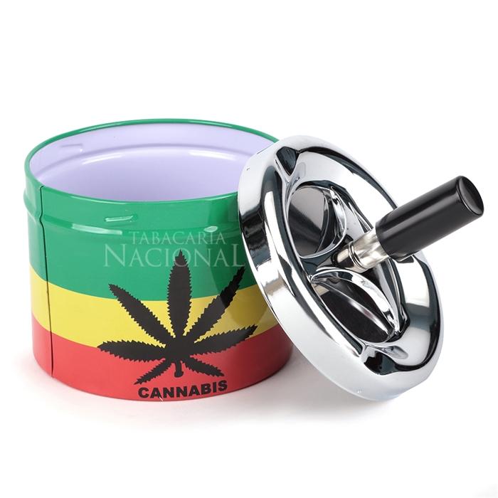 Cinzeiro de Alumínio com Tampa Giratória Redondo - Cannabis