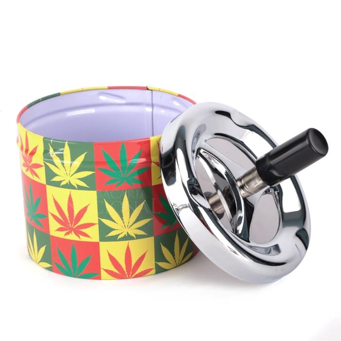 Cinzeiro de Alumínio com Tampa Giratória Redondo - Cannabis Colorido