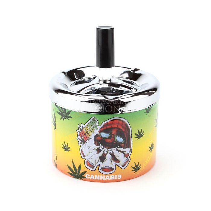 Cinzeiro de Alumínio com Tampa Giratória Redondo - Cannabis F. Happy