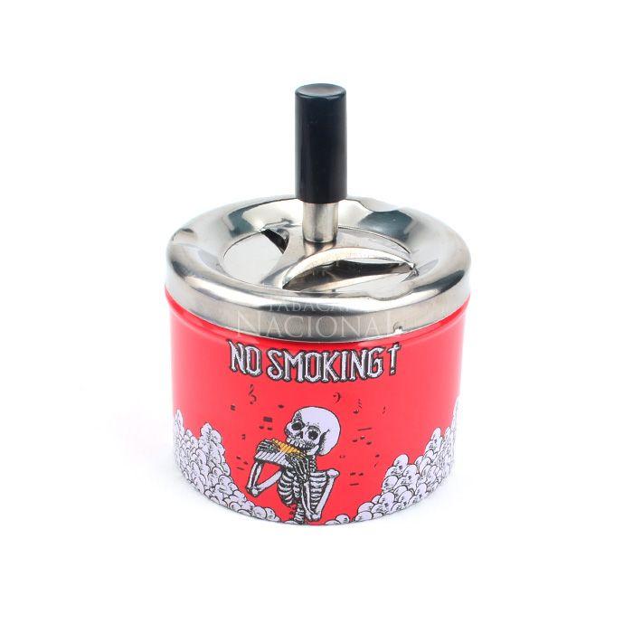 Cinzeiro de Alumínio com Tampa Giratória Redondo - No Smoking 2