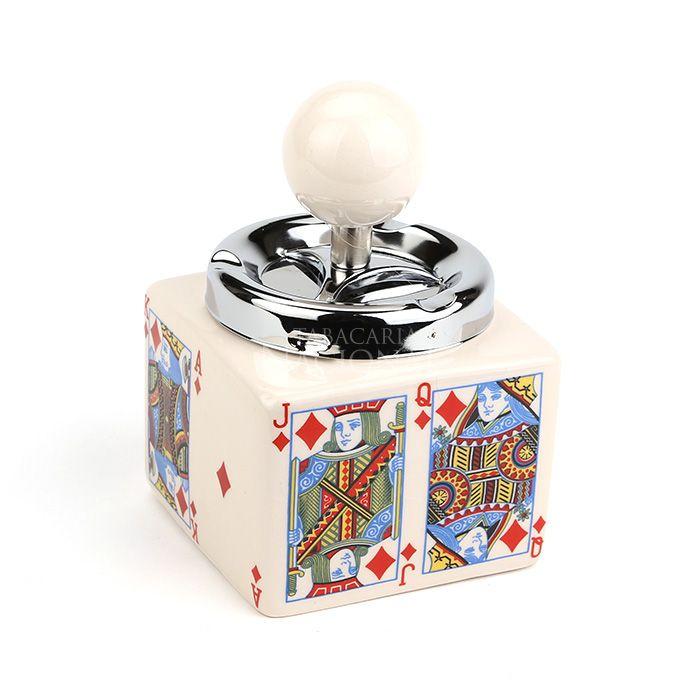 Cinzeiro de Cerâmica com Tampa Giratória Quadrado - Cartas de Baralho - Ouro
