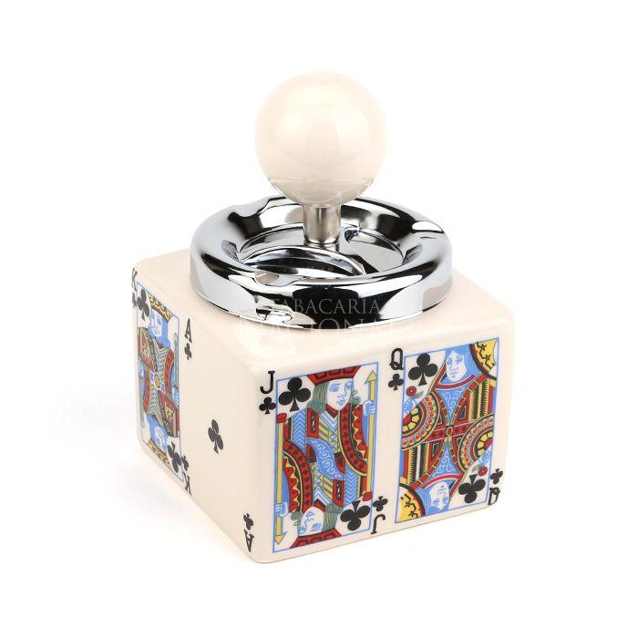 Cinzeiro de Cerâmica com Tampa Giratória Quadrado - Cartas de Baralho - Paus
