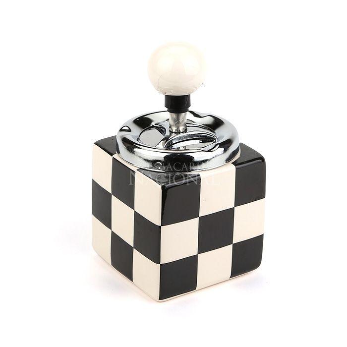 Cinzeiro de Cerâmica com Tampa Giratória Quadrado - Cubo Preto e Branco
