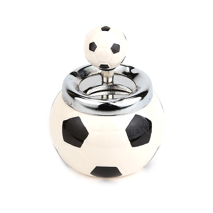 Cinzeiro de Cerâmica com Tampa Giratória Redondo - Bola de Futebol Branca