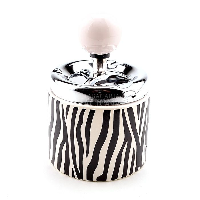 Cinzeiro de Cerâmica Redondo com Tampa Giratório - Zebra