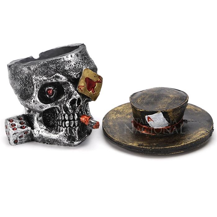 Cinzeiro de Resina para 4 Cigarros - Caveira Cassino Dark