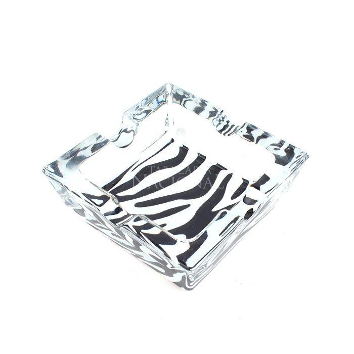 Cinzeiro de Vidro para 4 Cigarros - Quadrado 1 Zebra