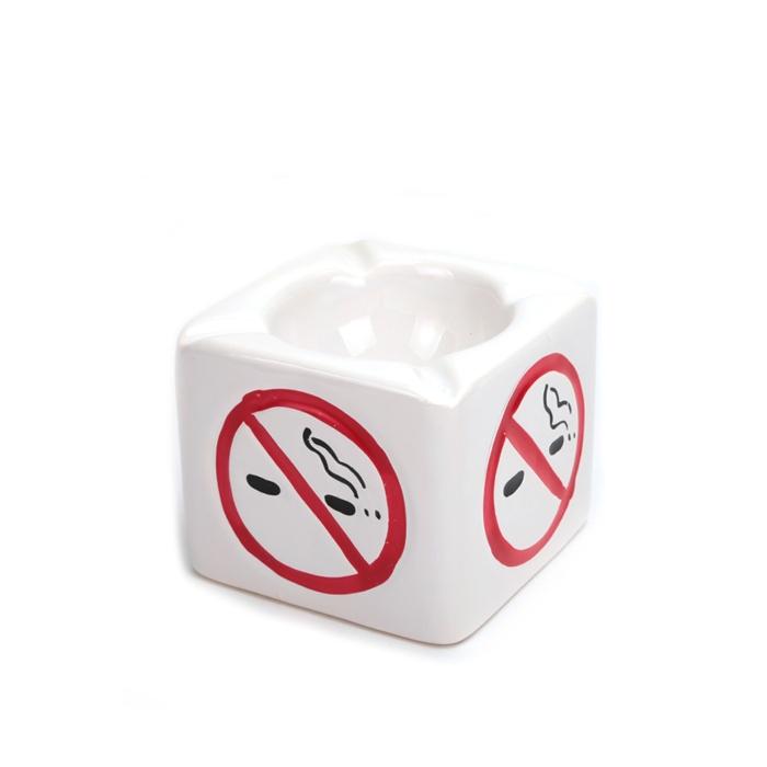 Cinzeiro para Cigarro de Cerâmica No Smoking - Branco