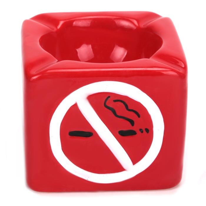 Cinzeiro para Cigarro de Cerâmica No Smoking - Vermelho